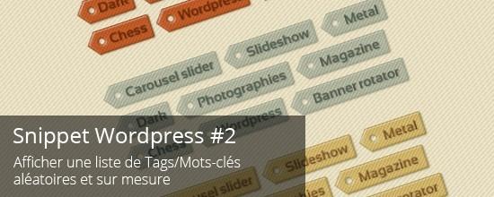 Wordpress - Afficher une liste de mots-clés aléatoires et sur mesure